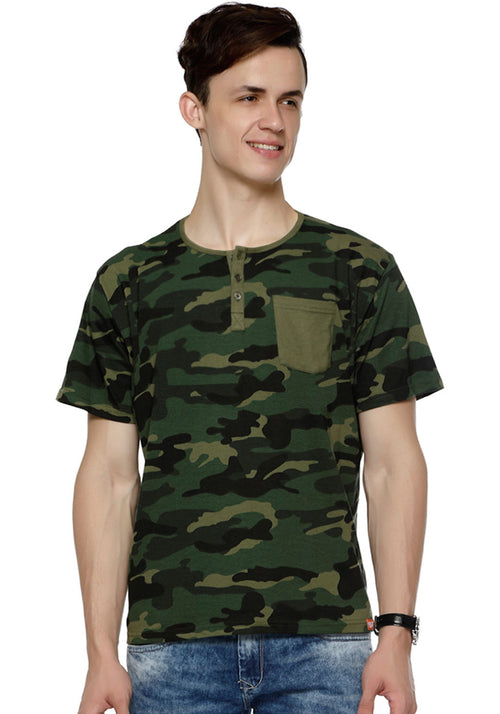 Henley With Patch Pocket - Green Camo