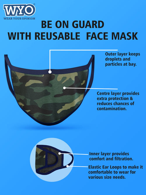 Reusable Anti Microbial Green Camo Mask - Three Ply