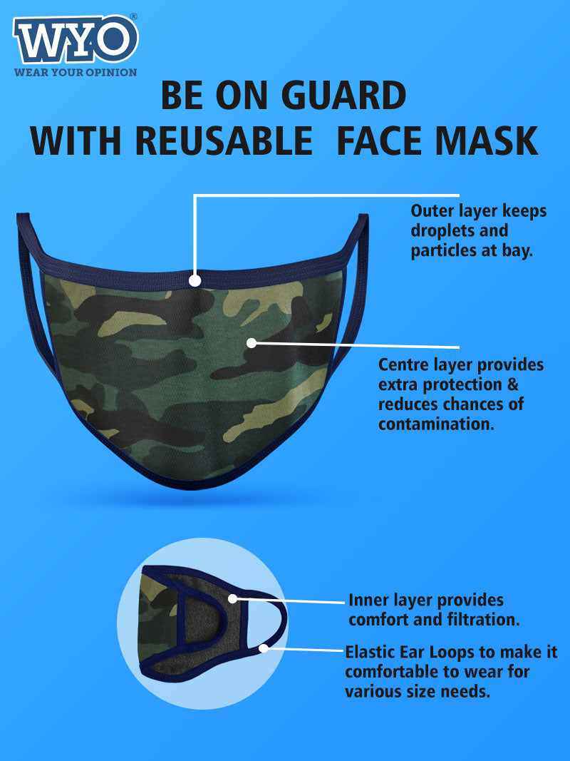 Reusable Green Camo Mask - Three Ply (Pack Size 3 - 6 - 12)