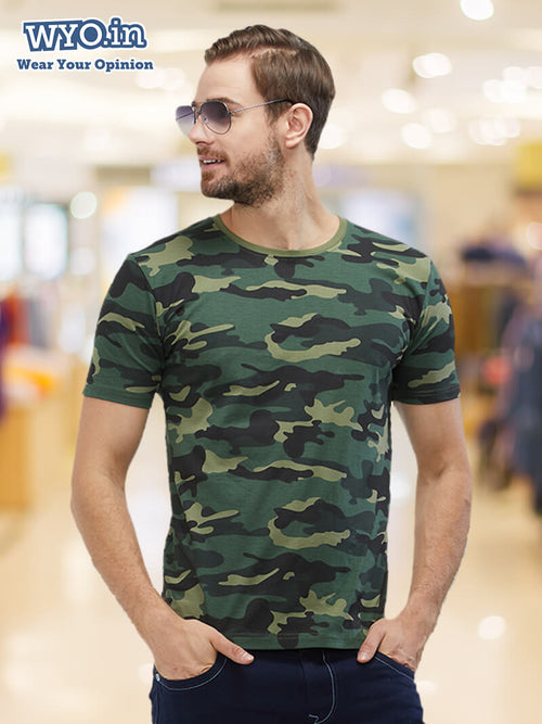 Plain Men's Tshirt - Green Camo
