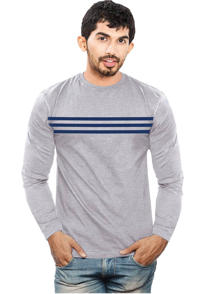 Full Sleeves Front Navy Stripes T-Shirt