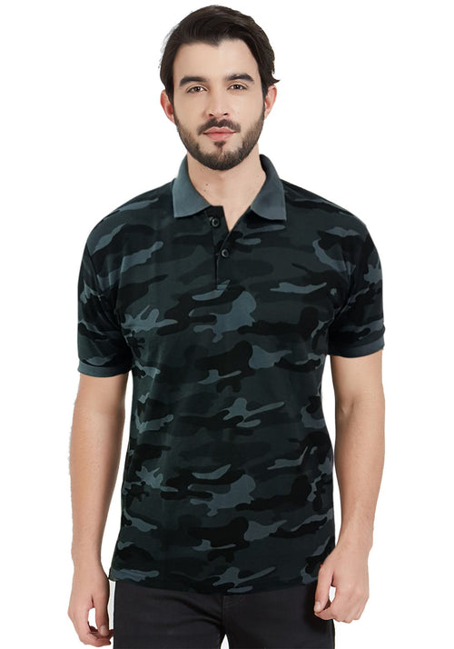 Grey Camo Polo T-Shirt