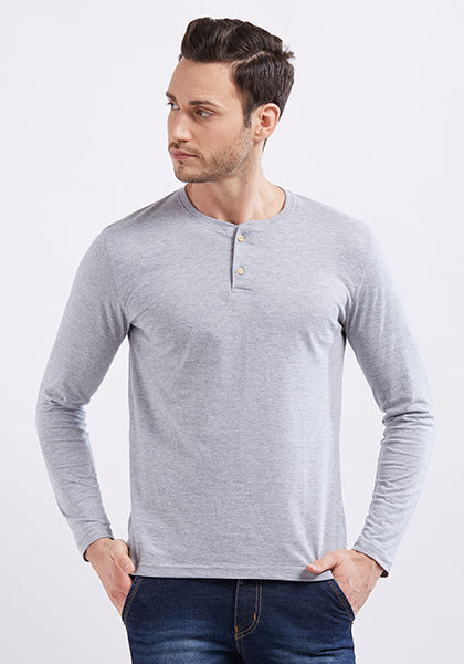 Henley Full Sleeve - Grey Mel