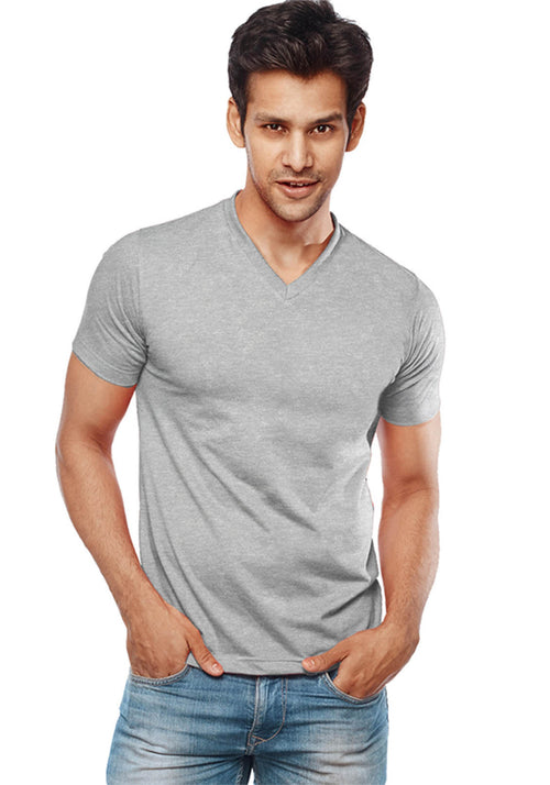 Grey V Neck Plain T-Shirt - Wear Your Opinion - WYO.in