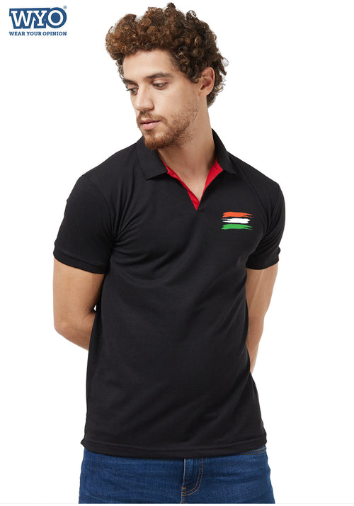 Indian Flag Basic Slim Fit PQ Polo T-Shirt