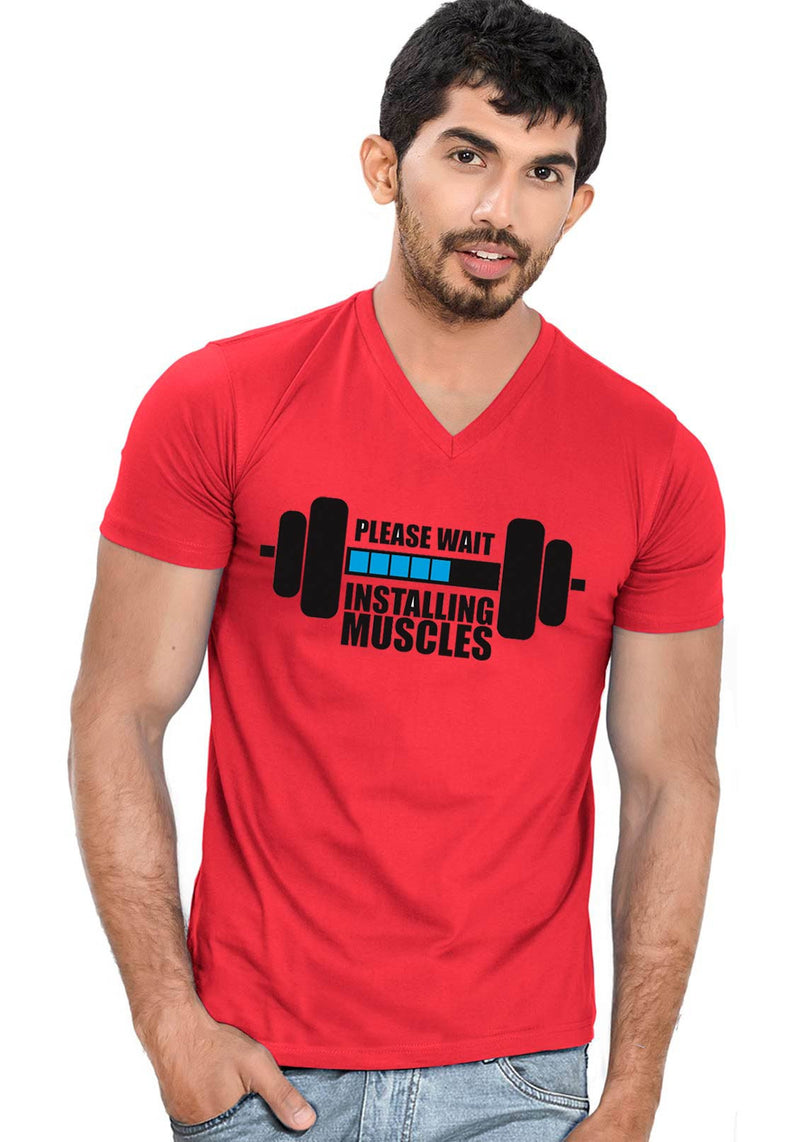 Installing Muscles V Neck T-shirt