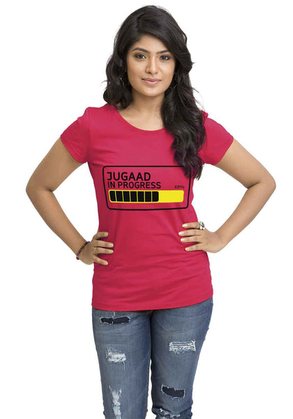 Jugad In Progress Women'S TShirt - Wear Your Opinion - WYO.in  - 1