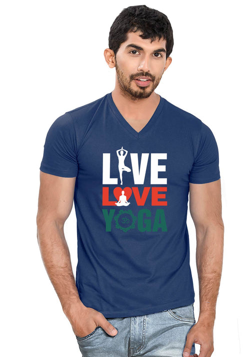 Live Love Yoga V Neck T-Shirt - Wear Your Opinion - WYO.in  - 1