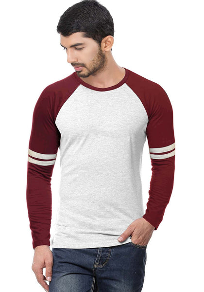 Maroon - Ecru Stripe Raglan Full sleeve - Wear Your Opinion - WYO.in