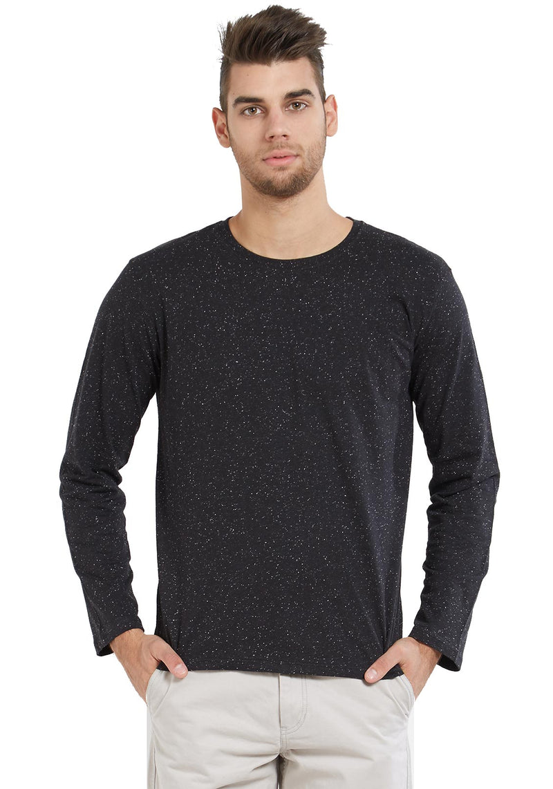 Naps Yarn Full Sleeves Tshirt - Black