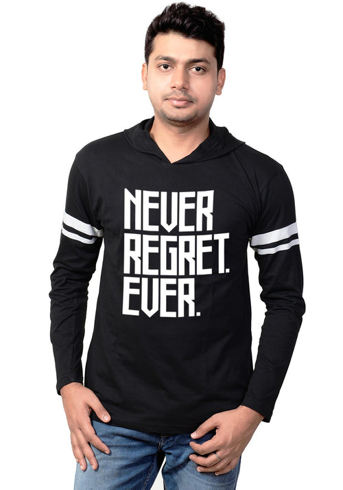 Never Regret Ever Full Hoodie Stripe T-Shirt