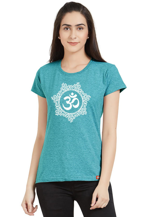 Om Block Print Women Round Neck Tshirt