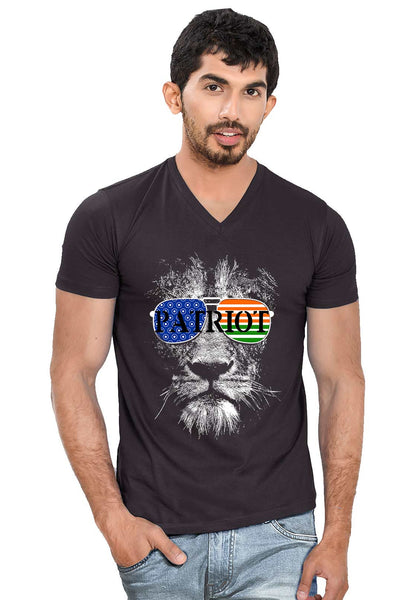 Patriot Lion V Neck T-Shirt - Wear Your Opinion - WYO.in