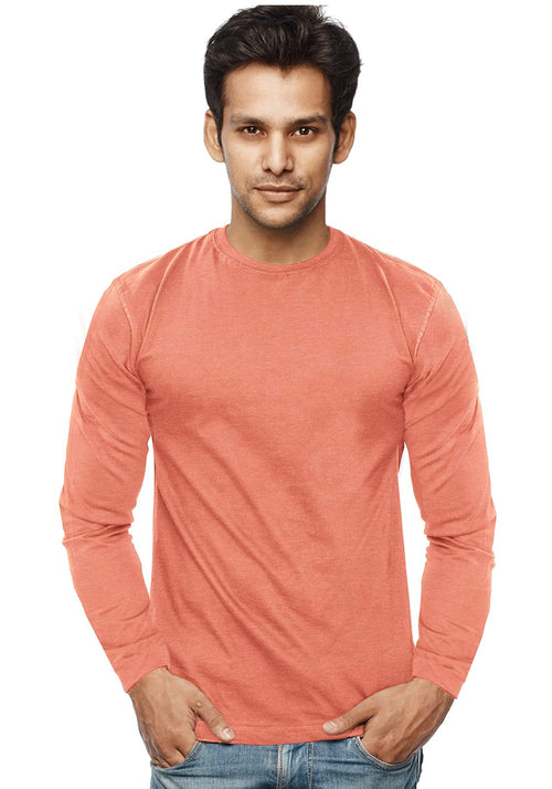Plain Full Sleeves Tshirt - Peach Mel - Wear Your Opinion - WYO.in