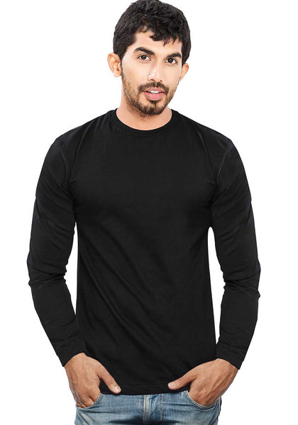 Plain Full Sleeves Tshirt - Black - Wear Your Opinion - WYO.in