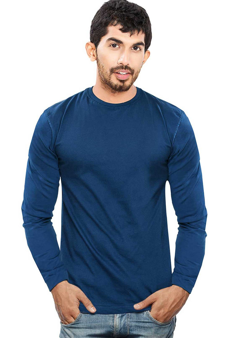 Plain Full Sleeves Tshirt - Navy - Wear Your Opinion - WYO.in