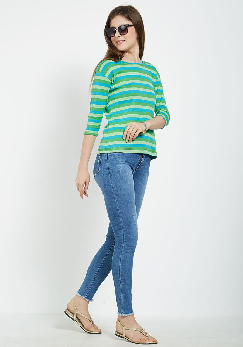 Plain Women's Stripe 3/4 Sleeve - Dark Green