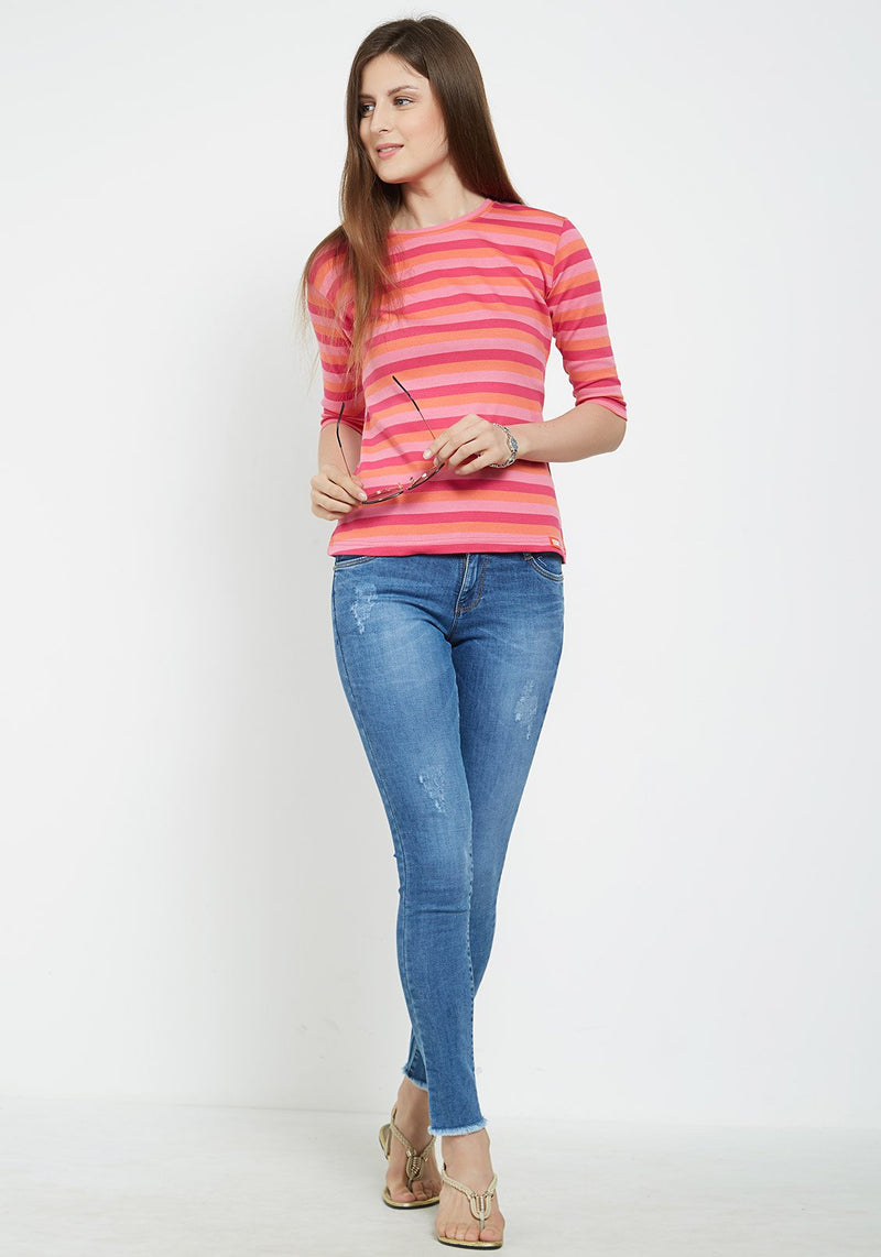Plain Women's Stripe 3/4 Sleeve - Dark Pink