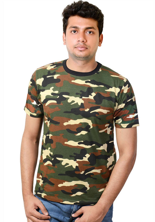 Plain Men's Tshirt - Brown Camo