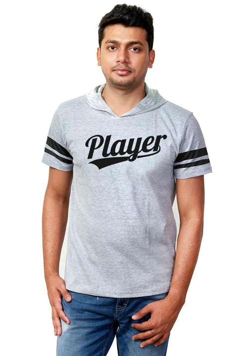 Player Half Hoodie Stripe T-Shirt