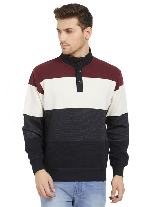Premium Maroon Placket Sweatshirt