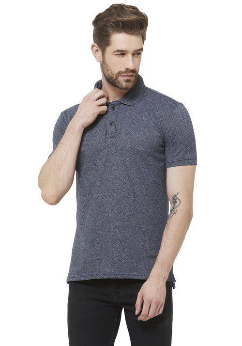 Premium PQ Polo T-Shirt - Navy Grindle