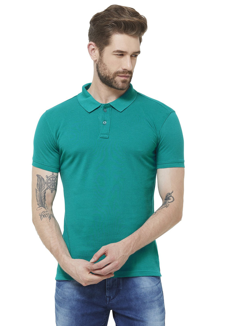 Premium Slim Fit PQ Polo T-Shirt - Peacock Green