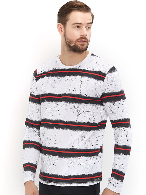 Red Stripe White Full Sleeves