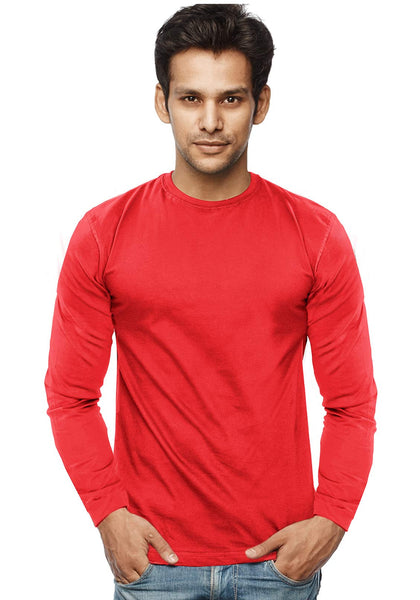 Plain Full Sleeves Tshirt - Red - Wear Your Opinion - WYO.in
