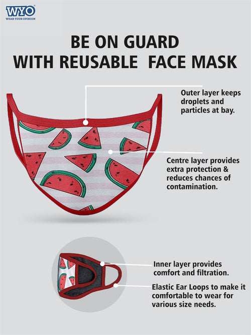 Reusable Melon AOP Mask - Three Ply (Pack Size 3 - 6 -10)