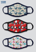 Reusable Printed Anti Microbial Three Ply Kids Mask Combo - D