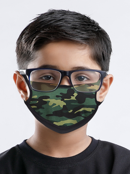 Reusable Anti Microbial Three Ply Kids Mask Combo - Green Camo