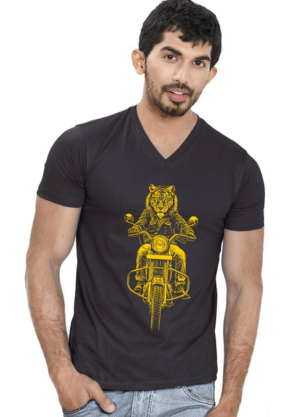Ride Like Tiger V Neck T-Shirt - Wear Your Opinion - WYO.in  - 1