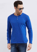 Naps Yarn Full Sleeve Henley - R Blue