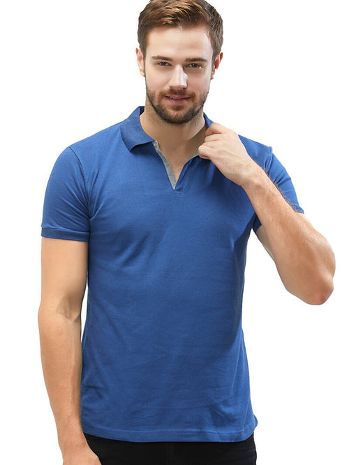 Basic Slim Fit PQ Polo T-Shirt - Airforce Blue