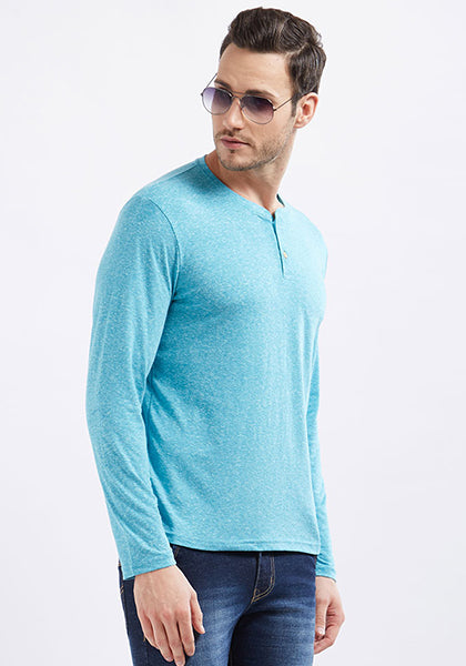 Naps Yarn Full Sleeve Henley - Sky Blue