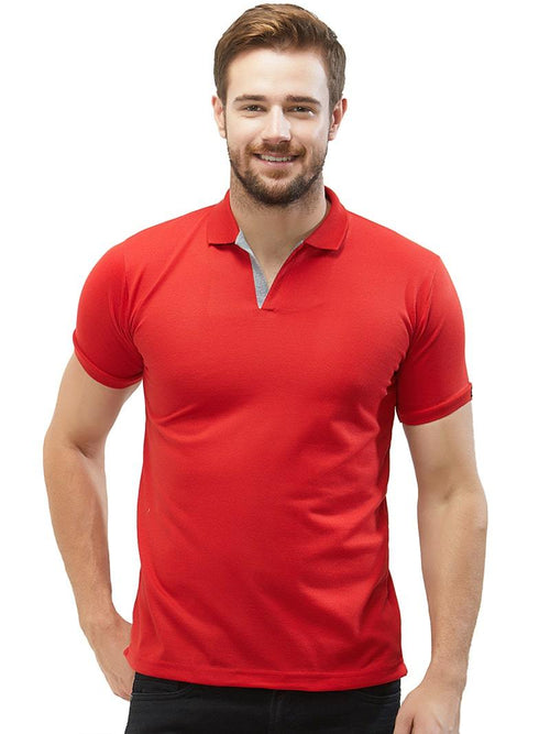 Basic Slim Fit PQ Polo T-Shirt - Red