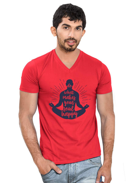 Soul Happy V Neck T-Shirt - Wear Your Opinion - WYO.in  - 1