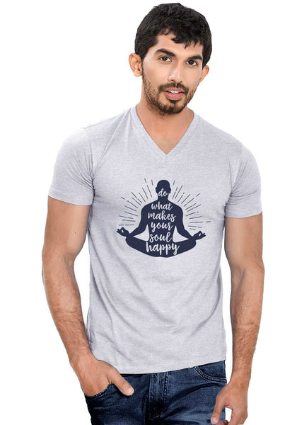 Soul Happy V Neck T-Shirt - Wear Your Opinion - WYO.in  - 2