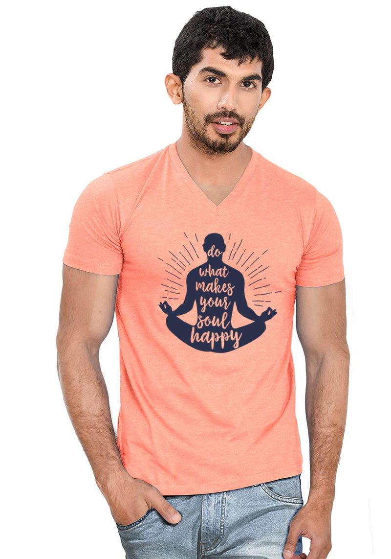 Soul Happy V Neck T-Shirt - Wear Your Opinion - WYO.in  - 3