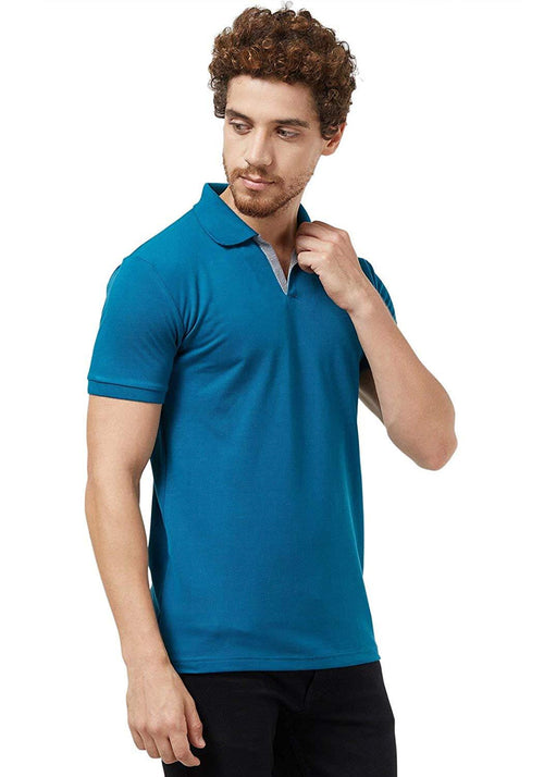 Basic Slim Fit PQ Polo T-Shirt - Teal Blue