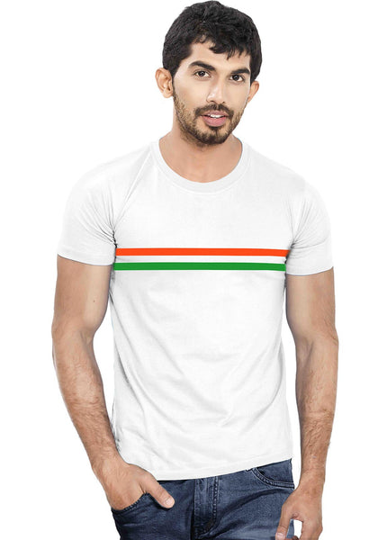 Men Tri Colour Printed Round Neck Half Sleeve T-Shirt - Wear Your Opinion - WYO.in  - 1