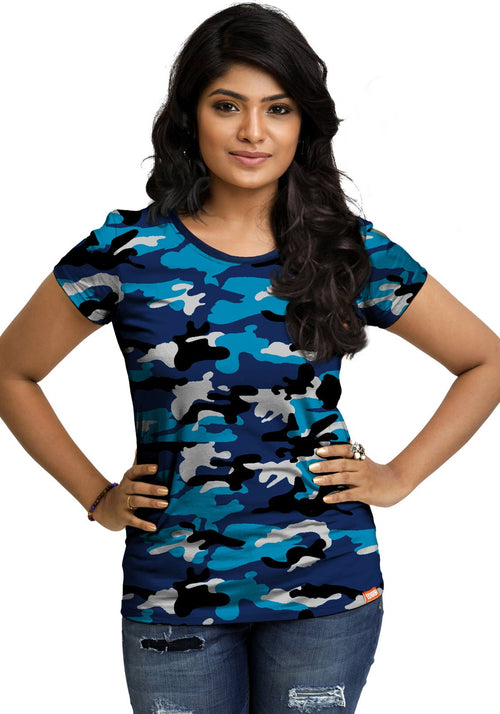 Plain Women's Tshirt - Blue Camo