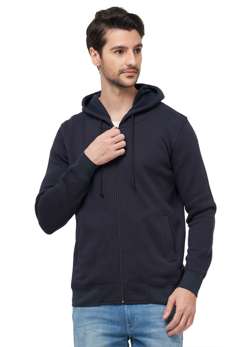 Lite Plain Zipper Hoodies - Black
