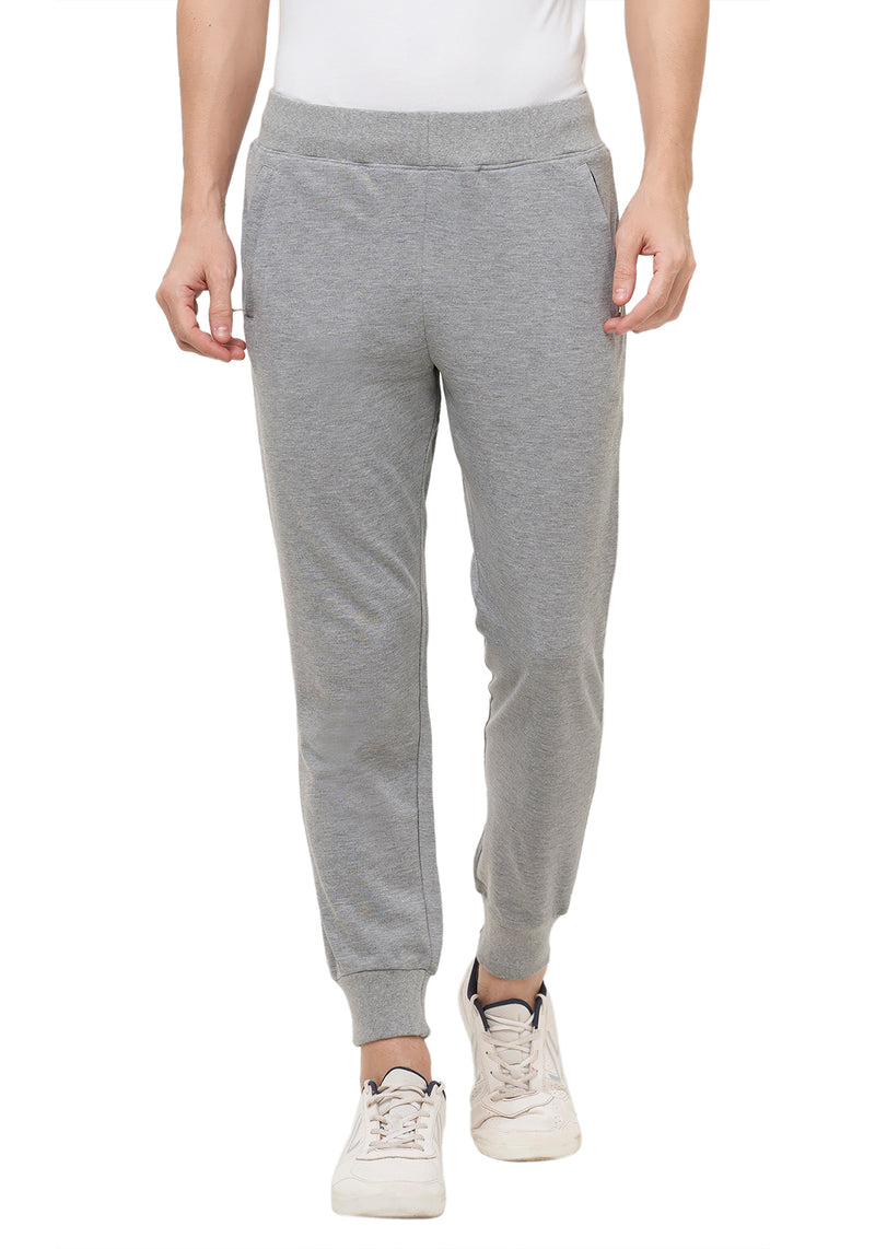 Plain Joggers With Zip - Grey Mel