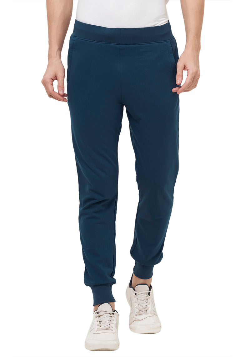 Plain Joggers With Zip - Navy