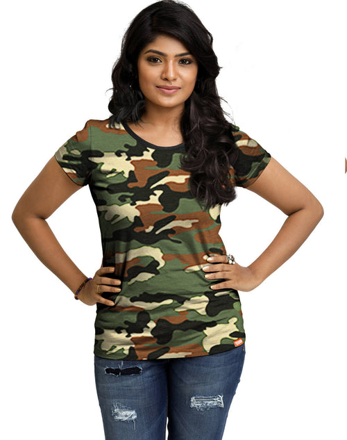 Plain Women's Tshirt - Brown Camo