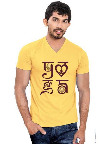 Yoga Symbol V Neck T-Shirt - Wear Your Opinion - WYO.in  - 1