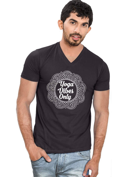 Yoga Vibes V Neck T-Shirt - Wear Your Opinion - WYO.in  - 1