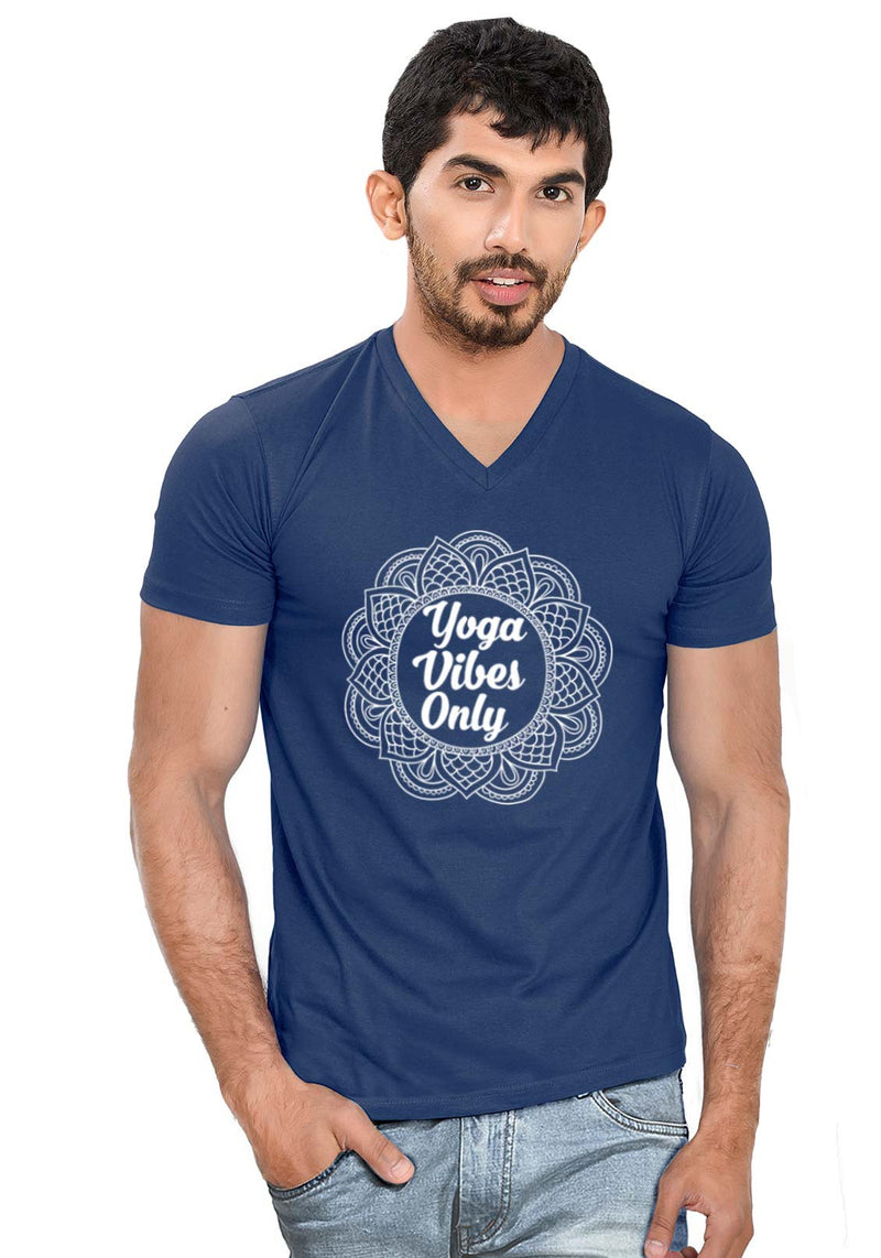 Yoga Vibes V Neck T-Shirt - Wear Your Opinion - WYO.in  - 2